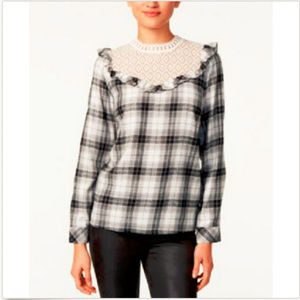 Kensie Womens Plaid Shirt Blouse M Gray White Lace